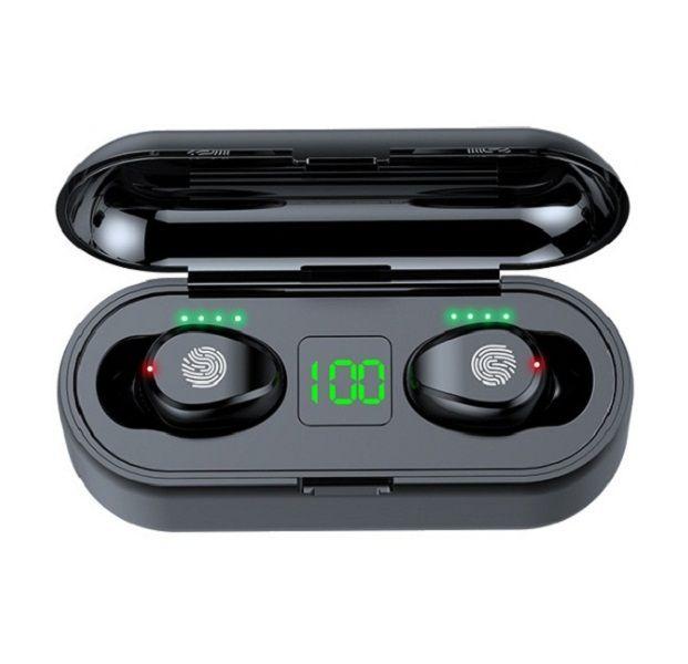 F9 Kablosuz Kulaklıklar 5.0 Kulaklık TWS Mini Kulak Kulakiçi Spor Koşu Oyun Kulaklık Telefonları HD Çağrı LED Güç Ekranı