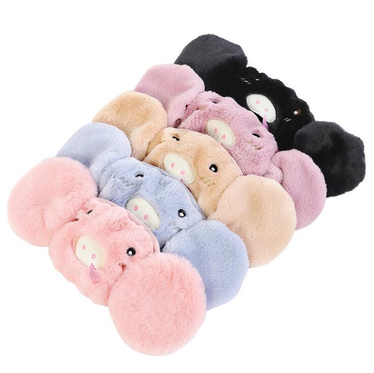 Enfants / adultes Taille Oreille de protection Masque bouche 15 couleurs mignon de porc Bear Cat Design 2 Dans 1 Masques d'hiver chaud Bouche moufles Anti-poussière OWF2618