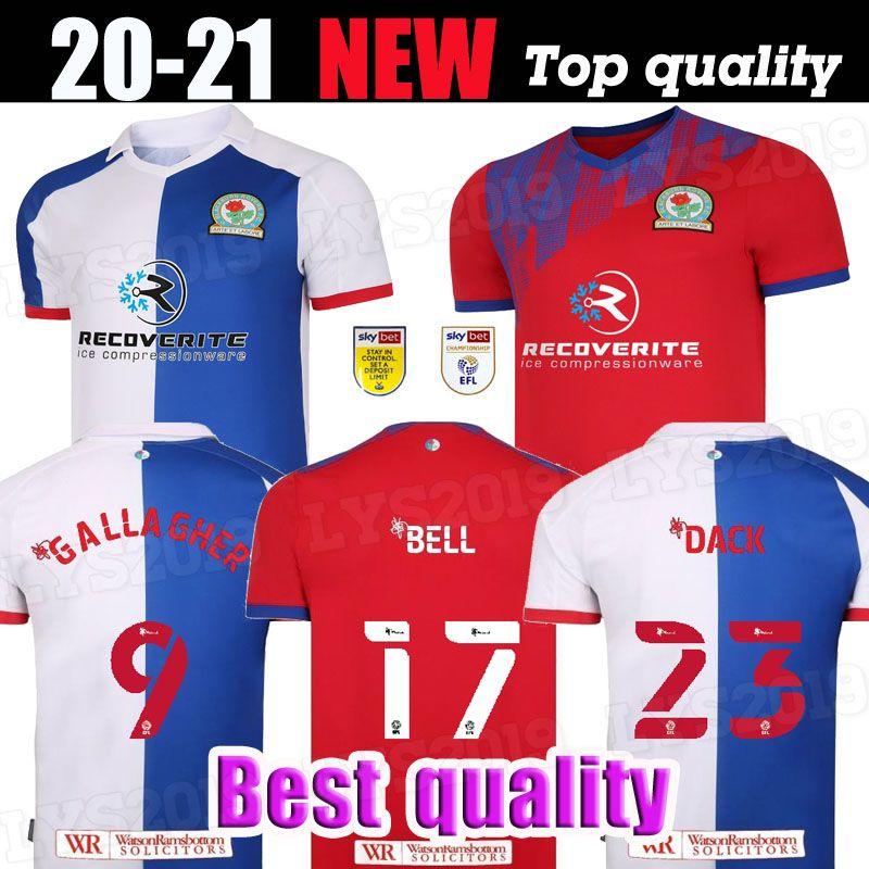 20 21 Blackburn Rovers Soccer Jerseys Home 2020 2021 Camisetas de Fútbol Holtby Dack Dack Gallagher Lenihan Chemises de football Kit Thaïlande