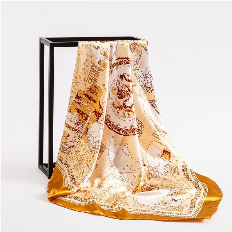 Шарфы 2021 Женщины Шелковый шарф Большой квадратный Женский Бандана Мода Ночного платка Дамы Hijab Kerchief FJ285