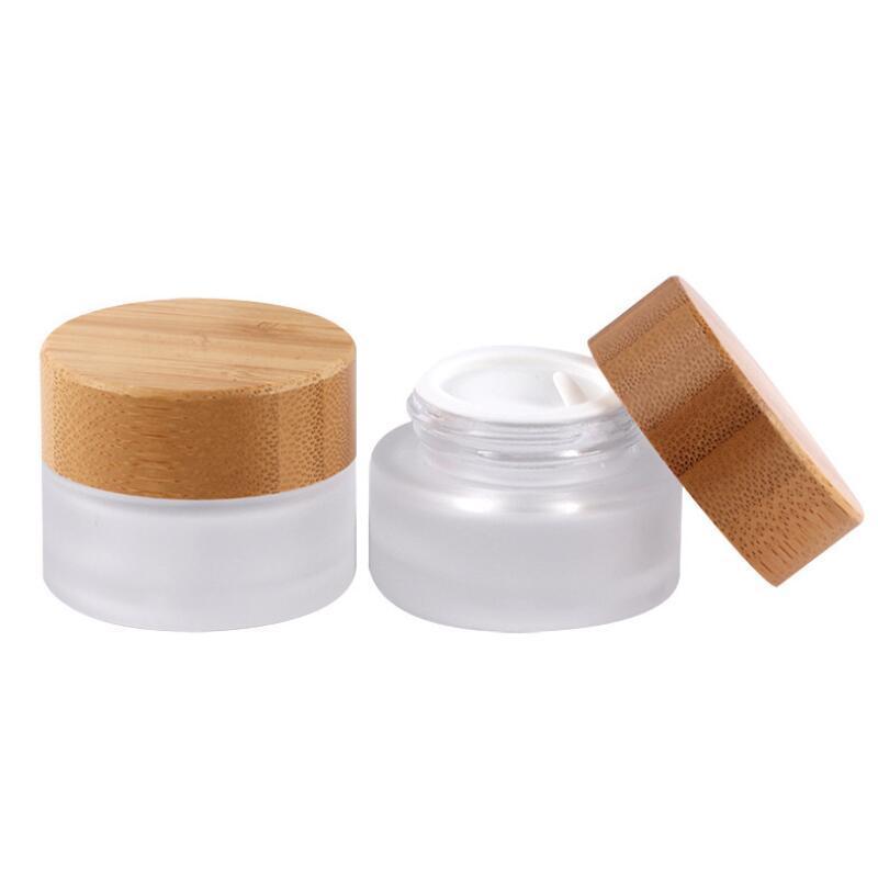15g frascos fosco de vidro com tampa de bambu, 15ml frascos de creme de vidro com tampas de bambu transporte rápido LX3650