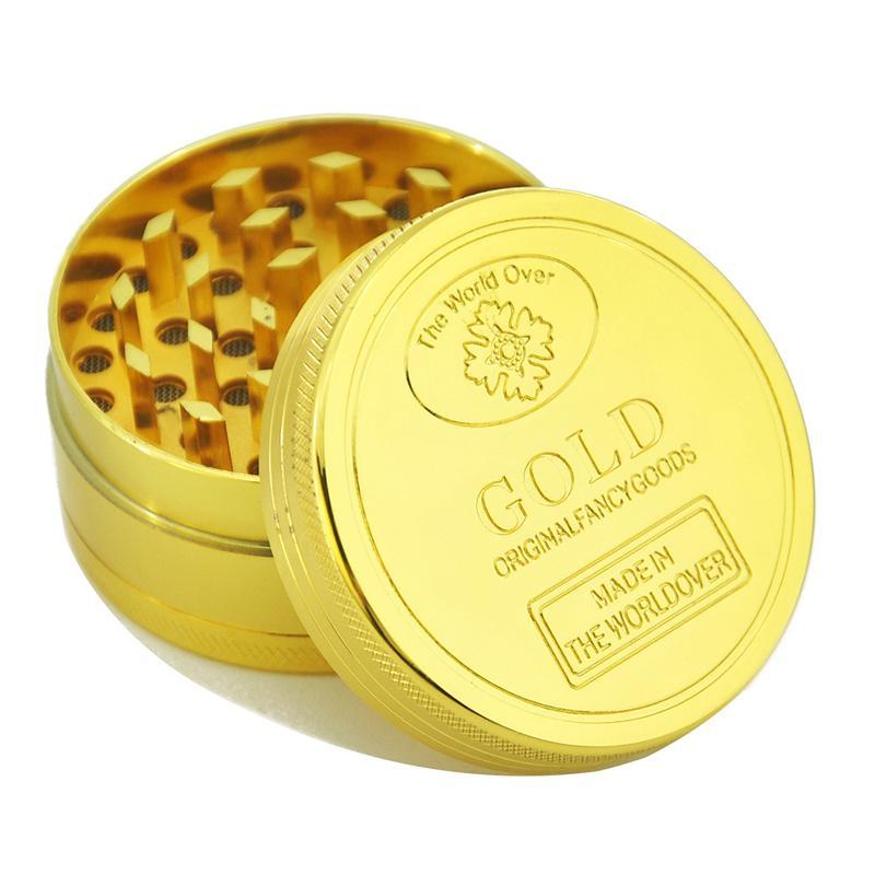 50 pcs 3 parte 3 camada 40mm x 25mm metal tabaco folha de grama seca moedor de ervas 3 partes camadas de fumar cor dourada