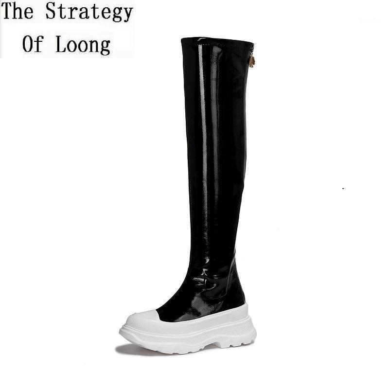 Сапоги Весна осень тонкий патентный кожаные женщины длинные зимние плюшевые клинья каблуки платформы дамы над коленом botas 202108251