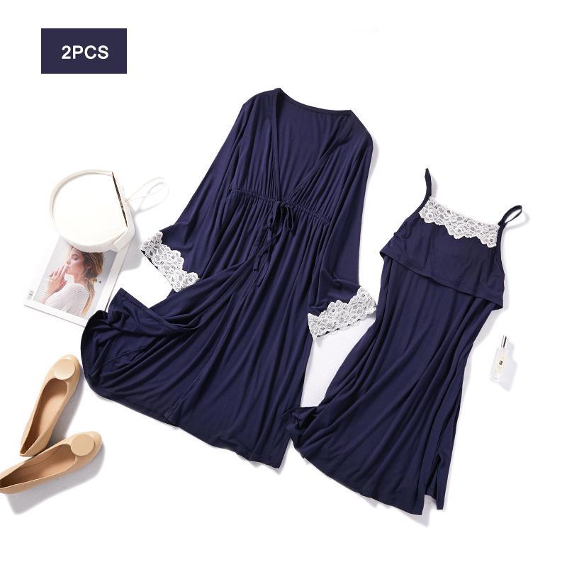 2PCS / 세트 임신 출산 잠옷 잠옷 간호 임신 잠옷 모유 수유 나이트 가운 우아한 출산 간호 드레스 1015