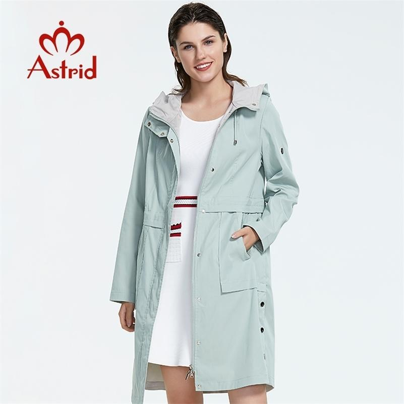 Astrid Nova Chegada Plus Size Mid-Length Style Style Trench Coat para Mulheres com um Hood Primavera-outono Vento Colorido AS-9020 201211