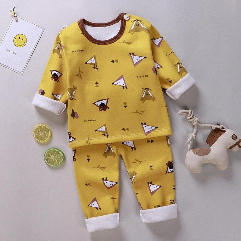 Childrens Warm Underwear Set, Babys Plush And Thickened Autumn Clothes, Autumn Pants, Girls Boys New Styles In And Wi Girls Holiday Pa q4kM#