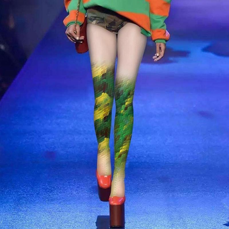 Сексуальные постепенные улицы лолита мода напечатанные женские персонализированные носки Trend розовые колготки