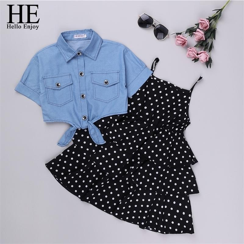 Hola, disfrute de las niñas conjuntos de ropa para niñas adolescentes de verano Dot Sling Princess Dress + Denim Blusa 2pc Kids Big Girl Vestidos 4 10 12 201126