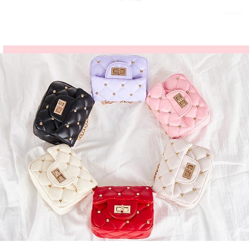 Baby Girls Mini Remaches Tote Bag Kids Designer Messenger Bags Niño elegante Cadena Bolso Bolsa de Hombro Niños New Purse1