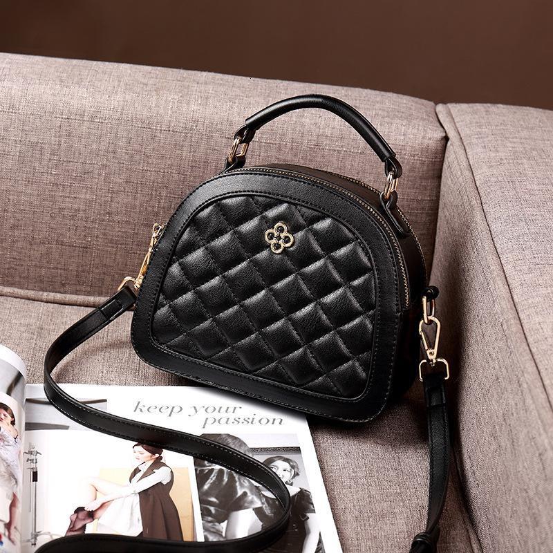 Лето 2021 Новая мода вышитая ромбическая черная маленькая круглая сумка