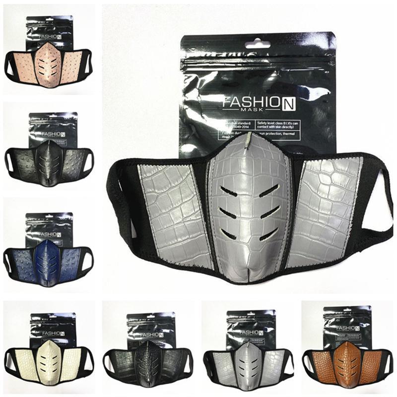 Vollfarbgesichtsmasken Mode PU Leder Männer Frauen Mundabdeckung Staubdichte Strauß Hautmaske Outdoor Atmungsaktive Party Gesichtsmaske 7 Stil