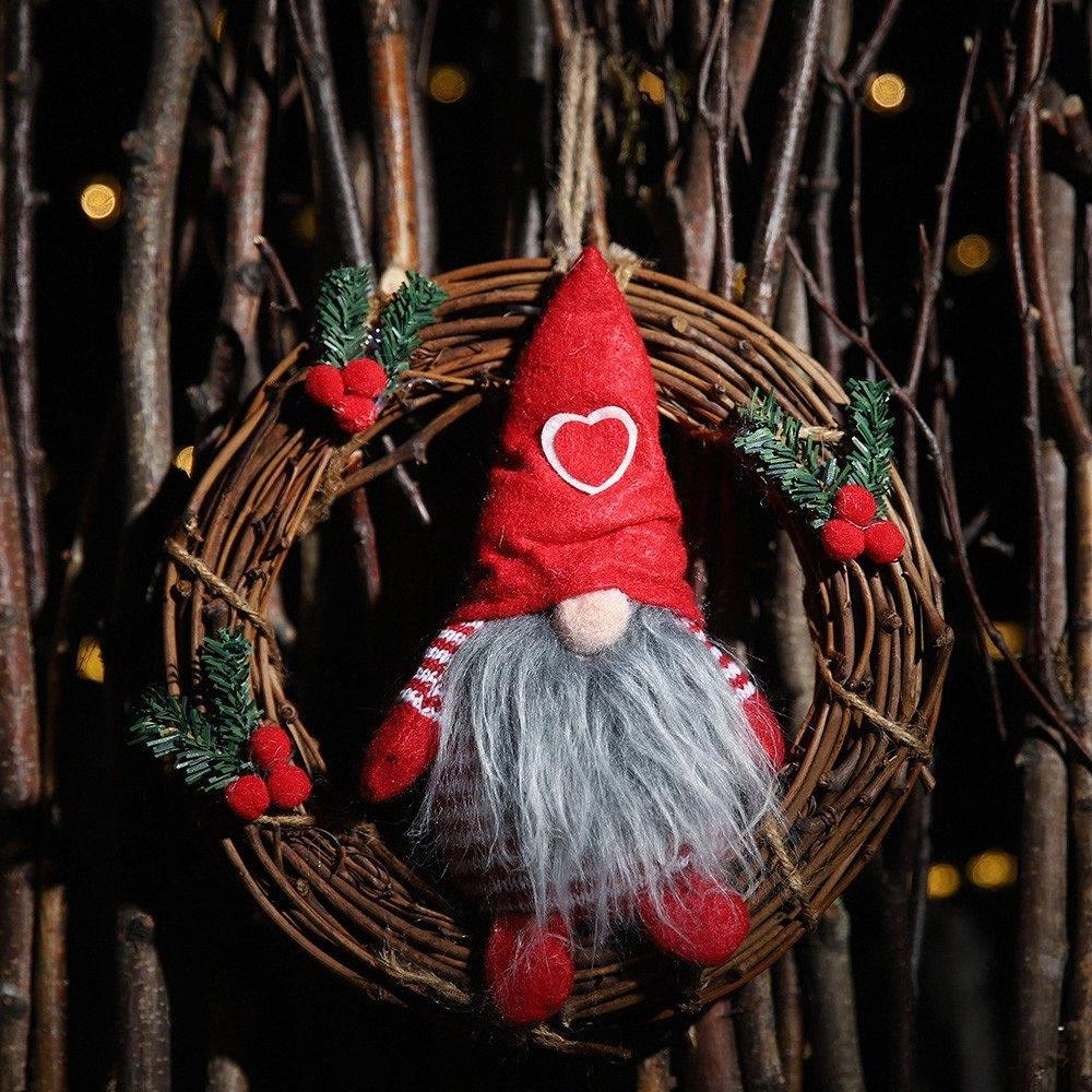 Anillo ratán de Navidad colgante de la guirnalda puerta colgando colgante viejo muñeco de nieve decoración de navidad adornos para el hogar Display @ 25 eUOt #