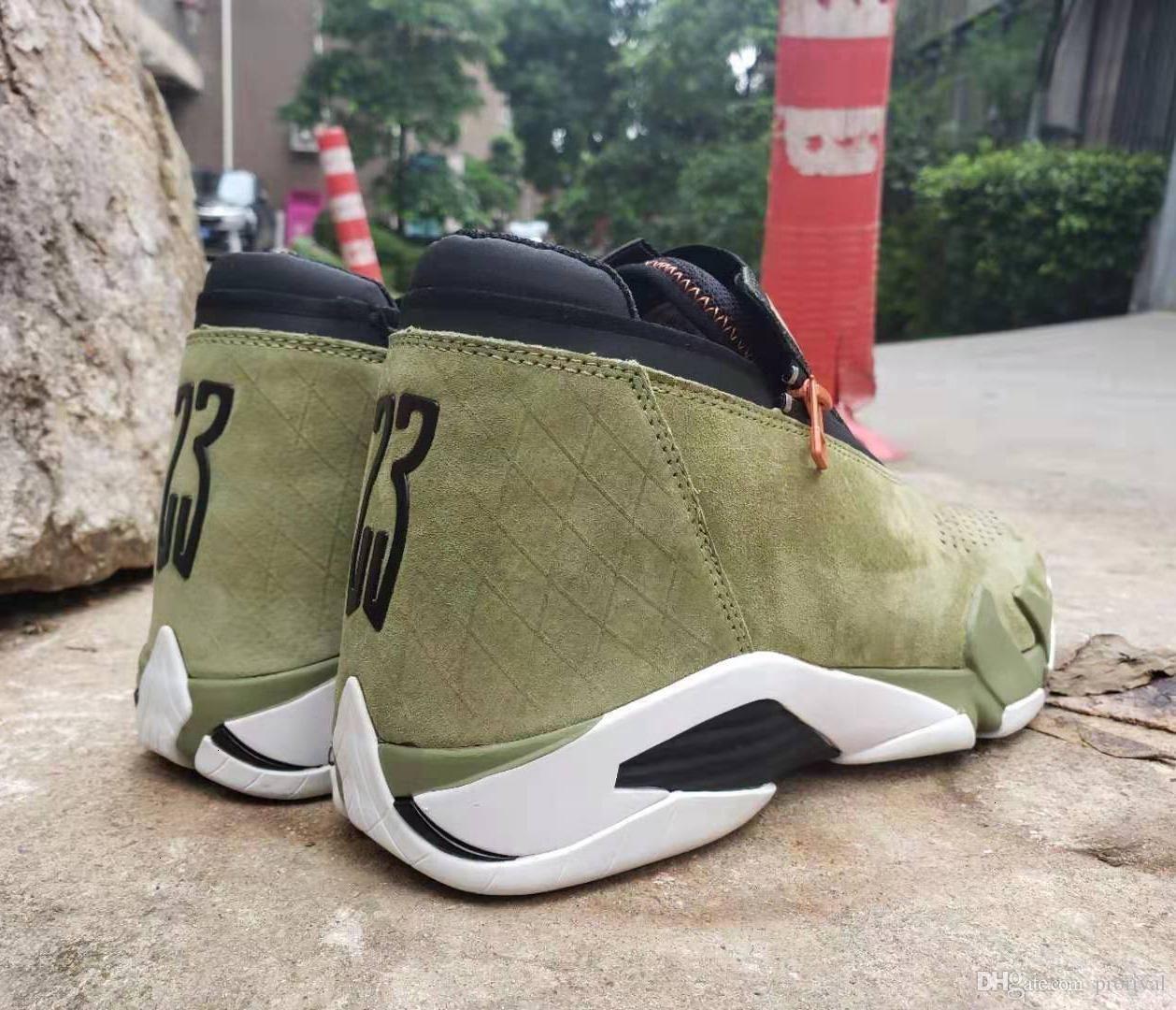 Scarpe Mens Sneakers 14 Basketball Suede Designer Zipper Mesh oliva Last Shot nero rosso Jumpman 14s Xiv Des Hommes Chaussures formatori scarpe