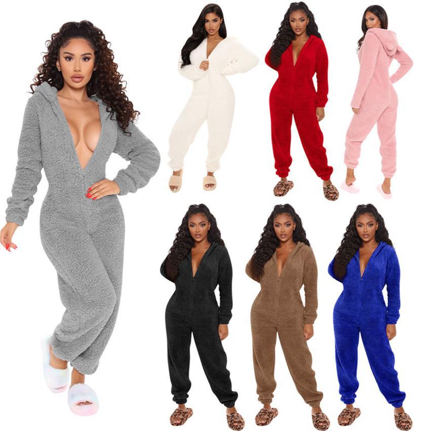 Les femmes sexy de velour BodySuit Solide Couleur long de barboteuses à capuchon Skinny Slim salopette zipper automne hiver Vêtements DHL 4027
