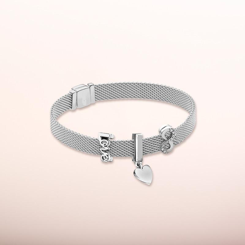 925 sterling silver rose reflection logo clip charm reflection crown clip eternal charm for Pandora style bracelet set