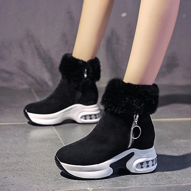 Zapatos calientes NAUK la bota del tobillo de la felpa de invierno para mujer acuña botas tacones altos señoras de las mujeres del cuero de arranque de raquetas de nieve Botas de invierno