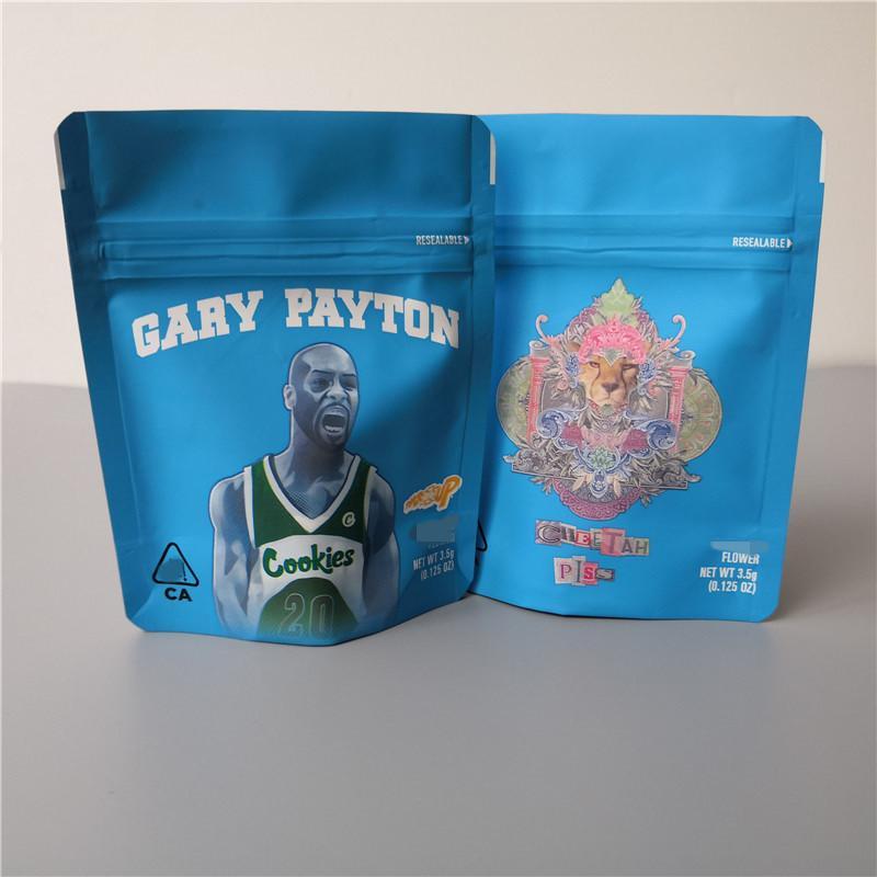 2021er Cookies Hot California SF 8º 3.5G Mylar Bolsas a prueba de niños 420 Embalaje Gelatti Cereal Leche Gary Payton Galletas Bolsa Tamaño 3.5G-1/8 Bolsas