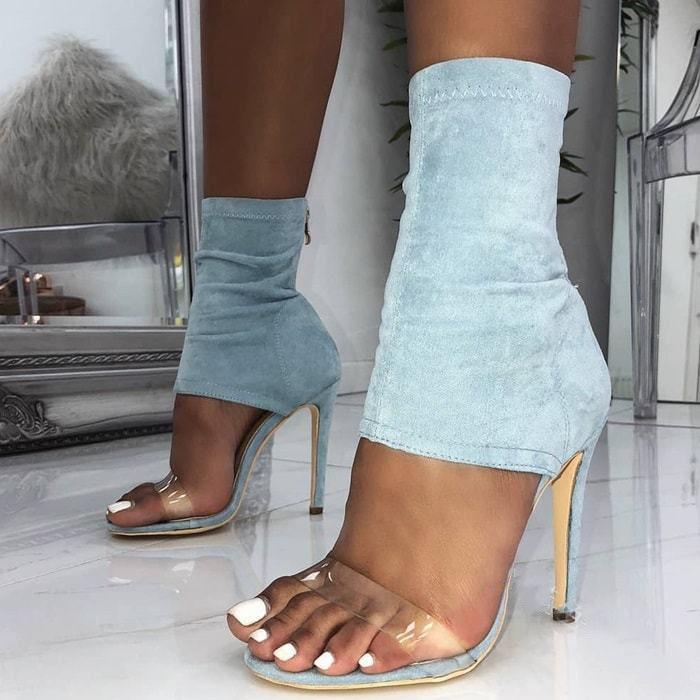 High Heel Damen Sandalen mit Reißverschluss Kristall PVC sexy Peep Toe dünne Ferse Stretch Denim Frauen Sommerschuhe 201021