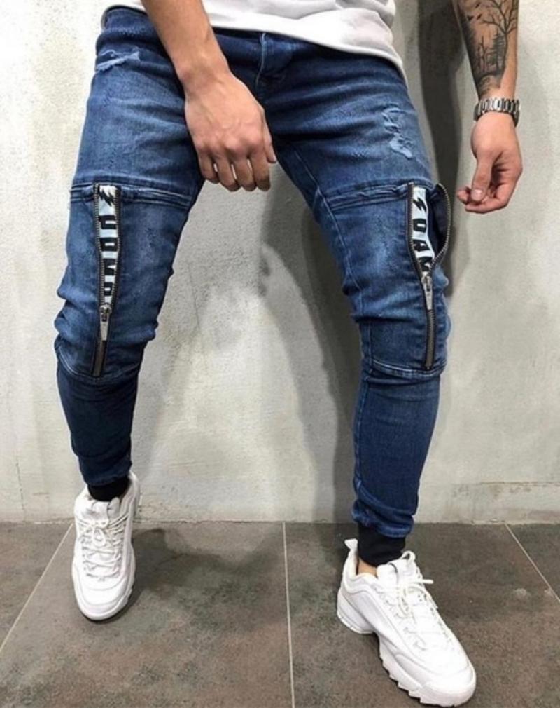 Pantalones Moda Casual con cordón de los pantalones vaqueros del dril de algodón del ajustado de los pantalones vaqueros rotos los hombres negro flaco