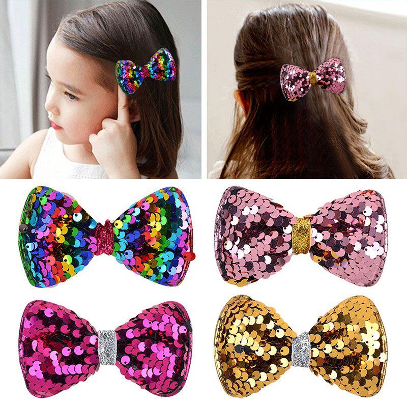 3,7 pouces Paillettes Bows cheveux pince à cheveux pour bébé filles Brillante Hairpins Boutique Couvre-chef main Accessoires cheveux A323