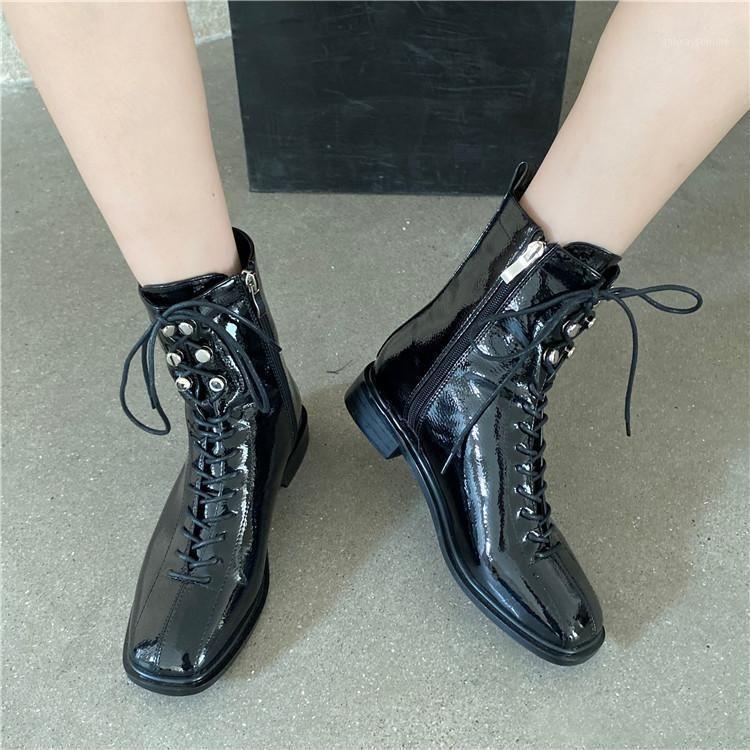 White Mid-Calf Boots Schuhe Luxus Designer Runde Zehe Stiefel-Frauen Niedrige Mode Leder Mid Calf med Gummi 2020 Damen Rock1