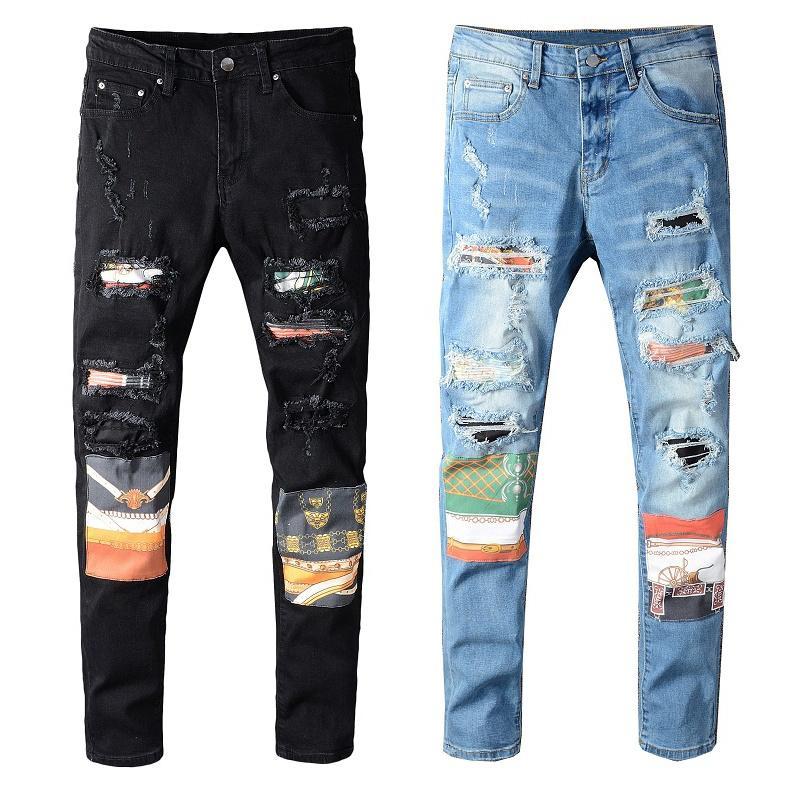 Mens jeans moda preto azul denim calça para macho skinny rasgado destruído trecho fino cabe calças de alta qualidade com furos