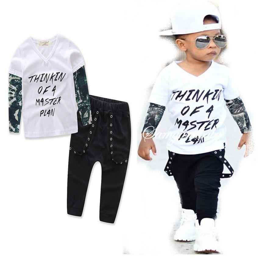 Ins Kinder Outfits Jungen Baumwolle Brief Top + Hosen 2 teile / set Babyanzüge