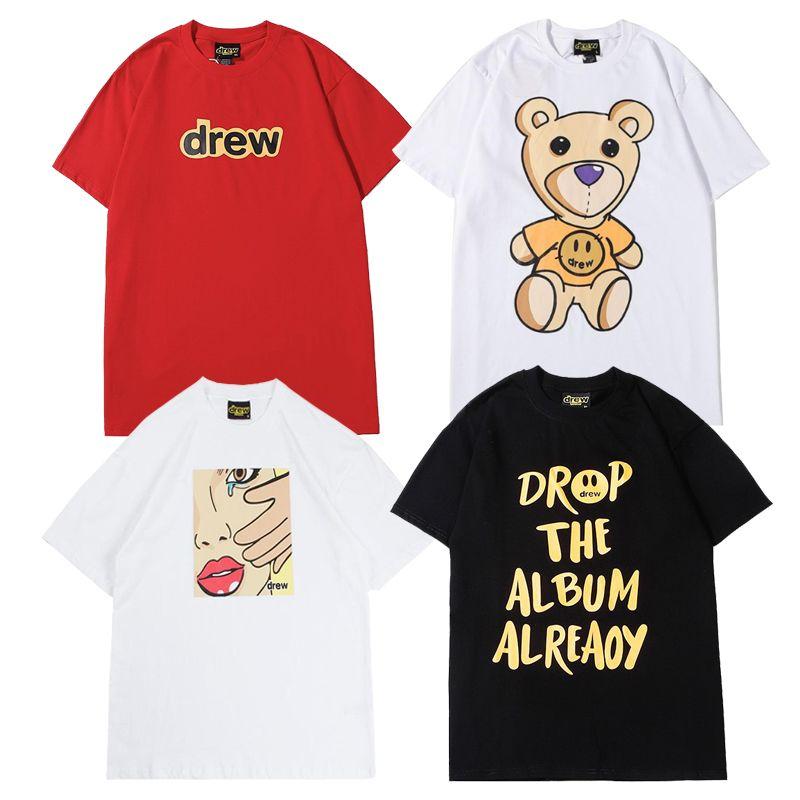 Justin Bieber Drew House T shirt Smile Drew Hip Hop Tee Fashion Mens Tshirt Short Sleeve O-Neck Cotton