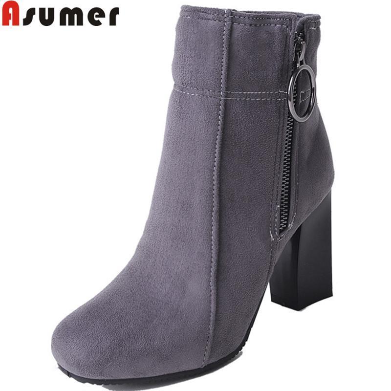 Asumer 2020 mode automne hiver bottes femmes rond bout à bout de cheville zip bottines pour femme troupeau d'épaisses talons hauts chaussures dames