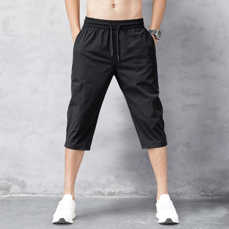Hombres Pantalones cortos de verano Pantalones de nylon fino 3/4 longitud de los pantalones masculino Bermuda Junta de secado rápido de la playa Negro larga de los hombres pone en cortocircuito 201013
