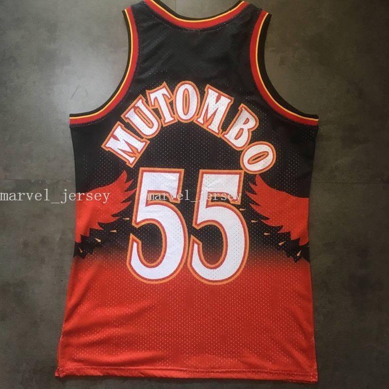Cosido Custom 55 MUTOMBO Retro Jersey Basketball Jerseys Red Mens Basketball Jerseys XS-6XL NCAA