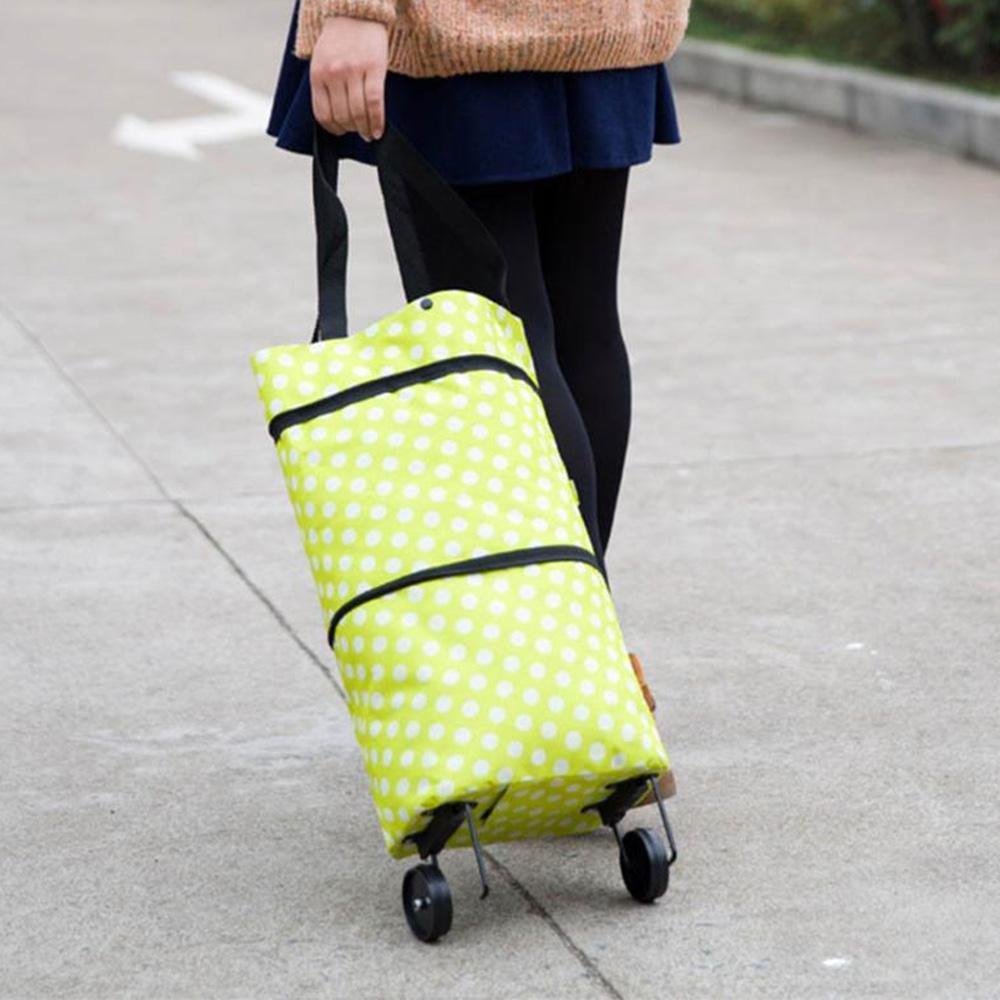 2020 Folding Einkaufswagen Pull Trolley-Tasche mit Rädern faltbare Einkaufstasche wiederverwendbare Einkaufstüte Lebensmittel Organizer Gemüse