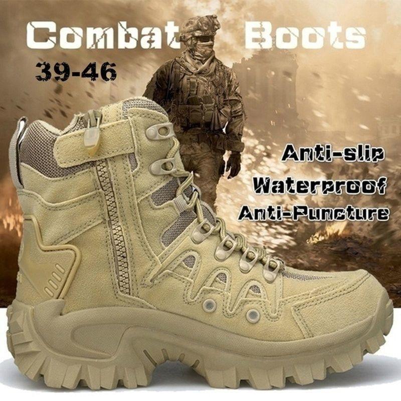 Hommes de plein air Randonnée Chaussures de randonnée respirant Sable tactique militaire Combat Bottes de l'armée Désert Formation Sneakers Anti-Slip Trekking Chaussures LJ201028
