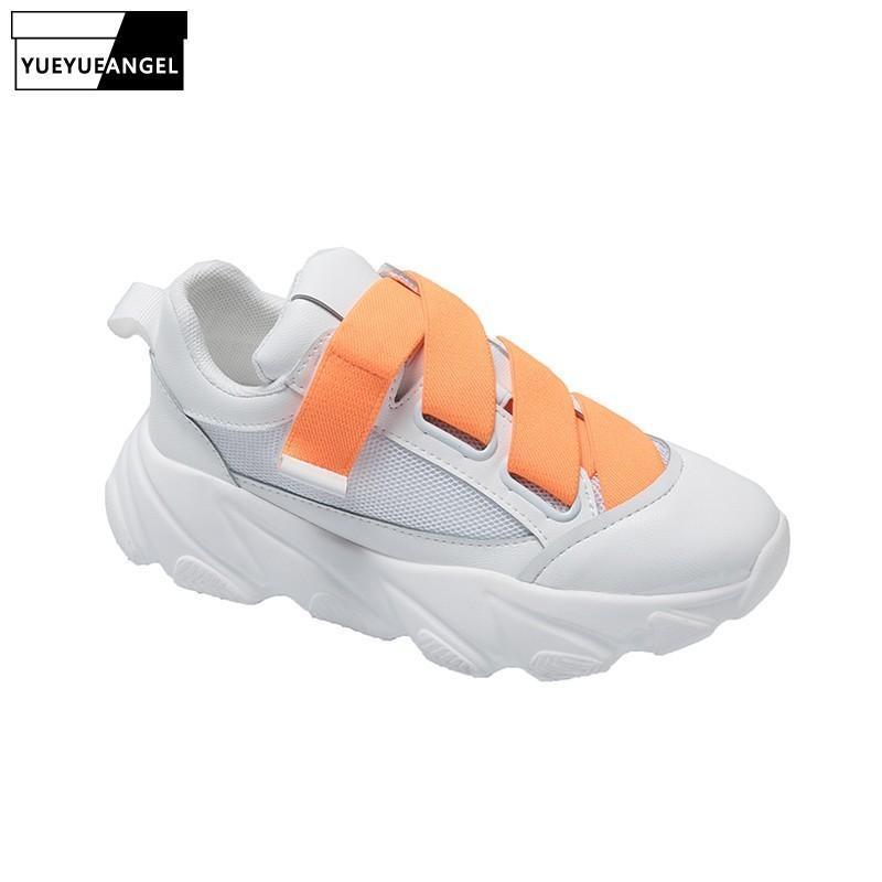 Chaussures Femmes été semelle épaisse plate-forme blanche Chaussures respirante Chaussures Mode Mesh Jaune Wedge Chunky Chaussures Femme 2020