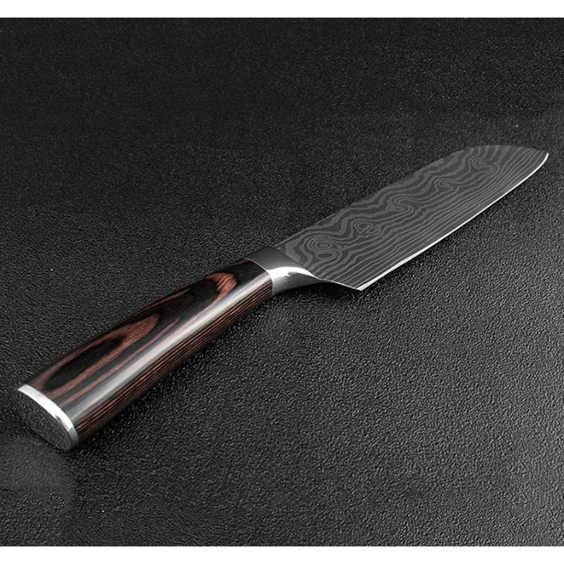 7-Zoll-Chefmesser Nachahmung Damaskus Stahl Scharfen Kleber Sushi Messer Holzgriff Fließende Sandwelle Muster Küche MEA Jllgib BDEBAG