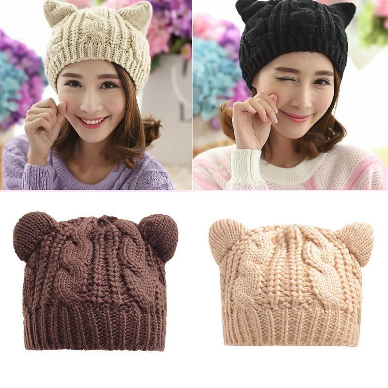 Fashion Women Knitted Warm Beanies Skullies Hat Cute Ear Animal Female Headgear Hats Hip-Hop Bonnet Caps Chirstmas Accessory