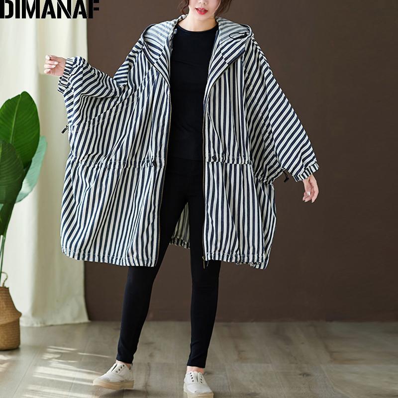 DIMANAF Plus Size femmes Vestes Manteaux Manteaux Automne Zipper Bat manches oversize Femme en vrac à capuchon rayé Vêtements 150KG Fit 201013
