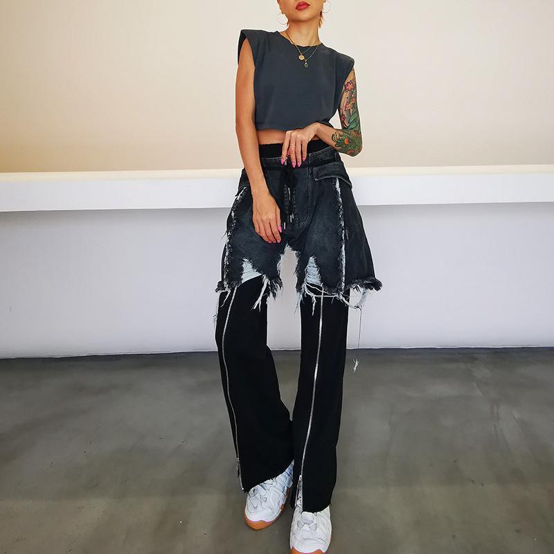 Kadınlar için 2020 Yeni Sokak Stili Yüksek Waisted İnce Dikişli Yıpranmış Fringe Denim Ön Fermuar Bölünmüş Uzun Jeans Sonbahar SuperAen