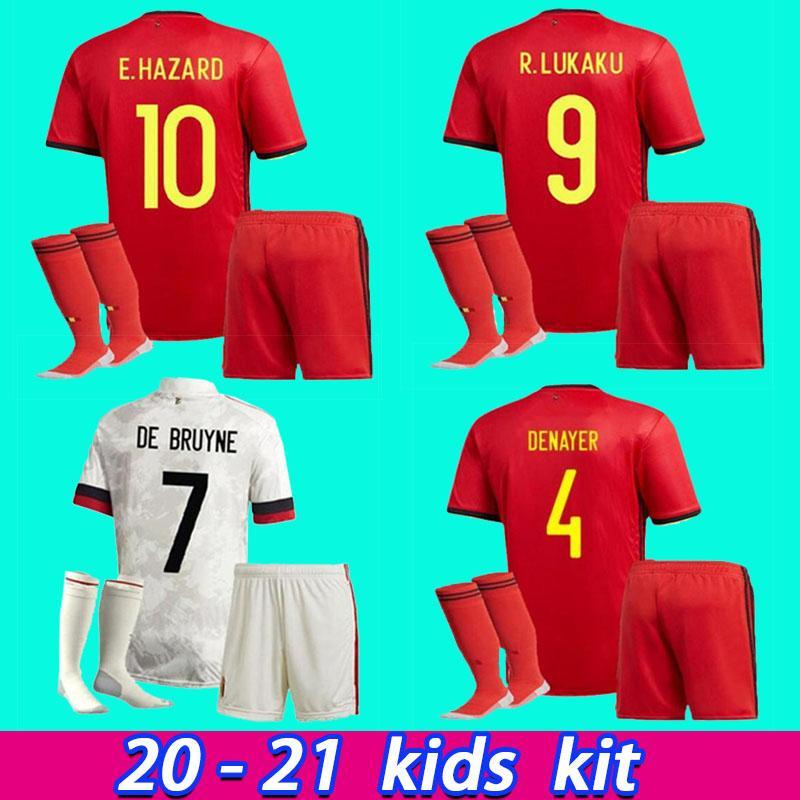 2020 2021 Kids Kit Belgium Home Away Audaku Опасность Kompany De Bruyne Mertens Футбол Джерси 20 21 Детская спортивная футбольная футболка