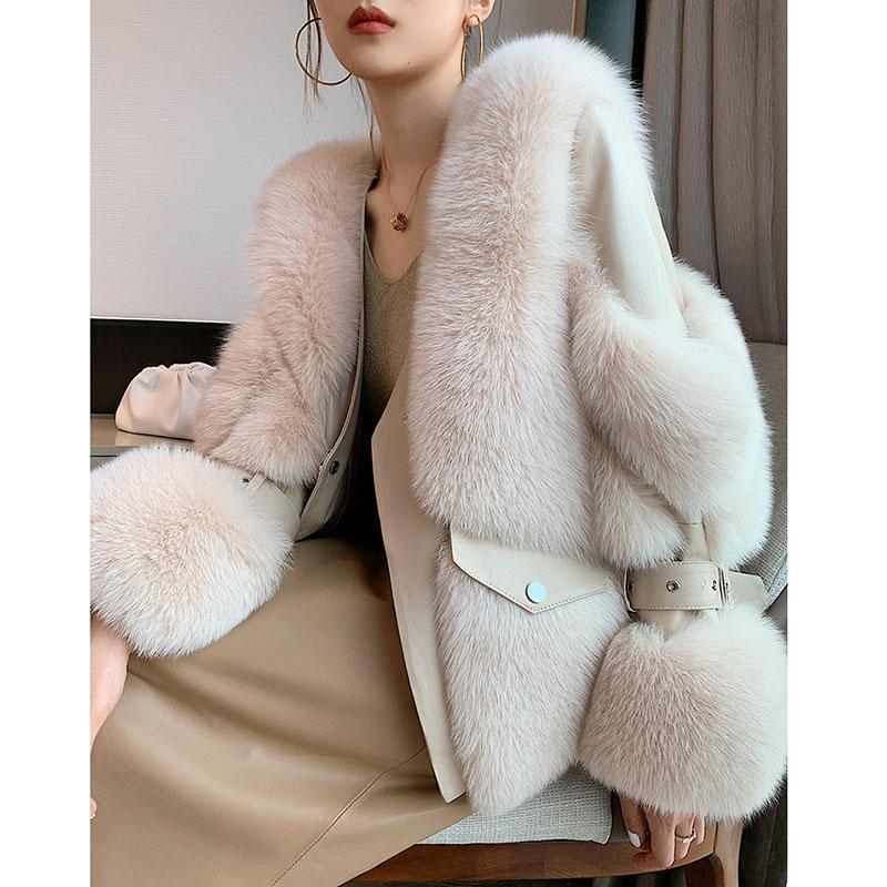 Mulheres inverno casaco de pele real curto manga longa jaqueta de pele natural outwear com Genuine Carneiros de couro grosso genuíno