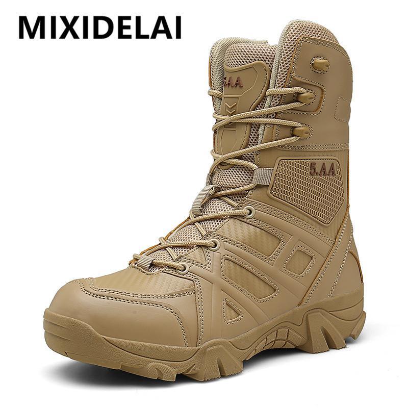 2020 Новый Мужчины Military Tactical Boots Спецназ кожа водонепроницаемый Desert Combat голеностопного загрузки Армия Работа Мужская обувь