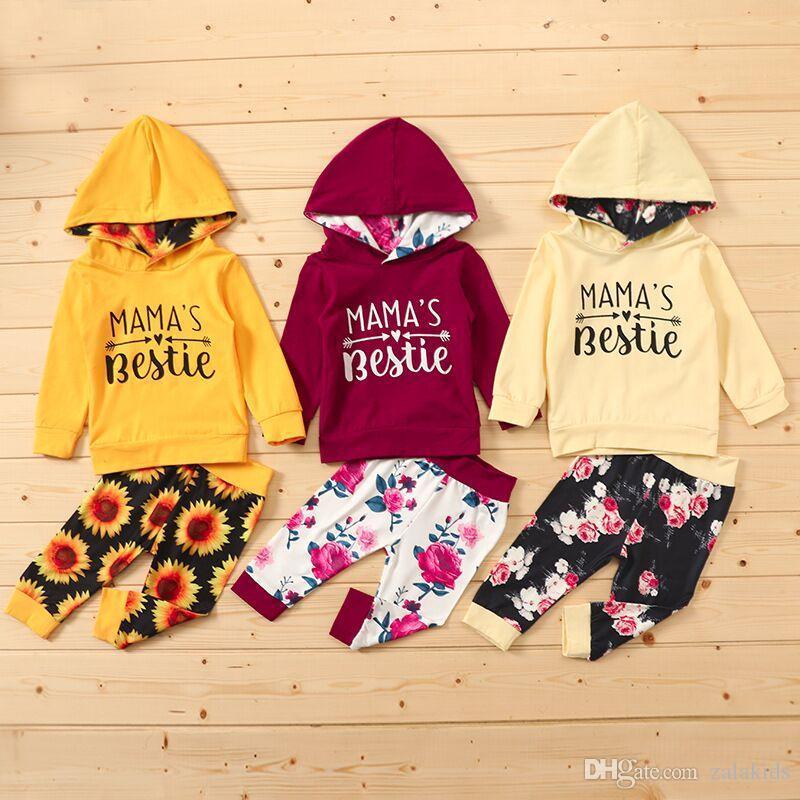 Yeni Sıcak Bebek Kız giyim Seti Bebek Kızlar Uzun Kollu Harf Hoodie Çocuk Tasarımcı Giyim Bebek Bebek Kıyafetleri Çiçek Pantolon set kıyafet