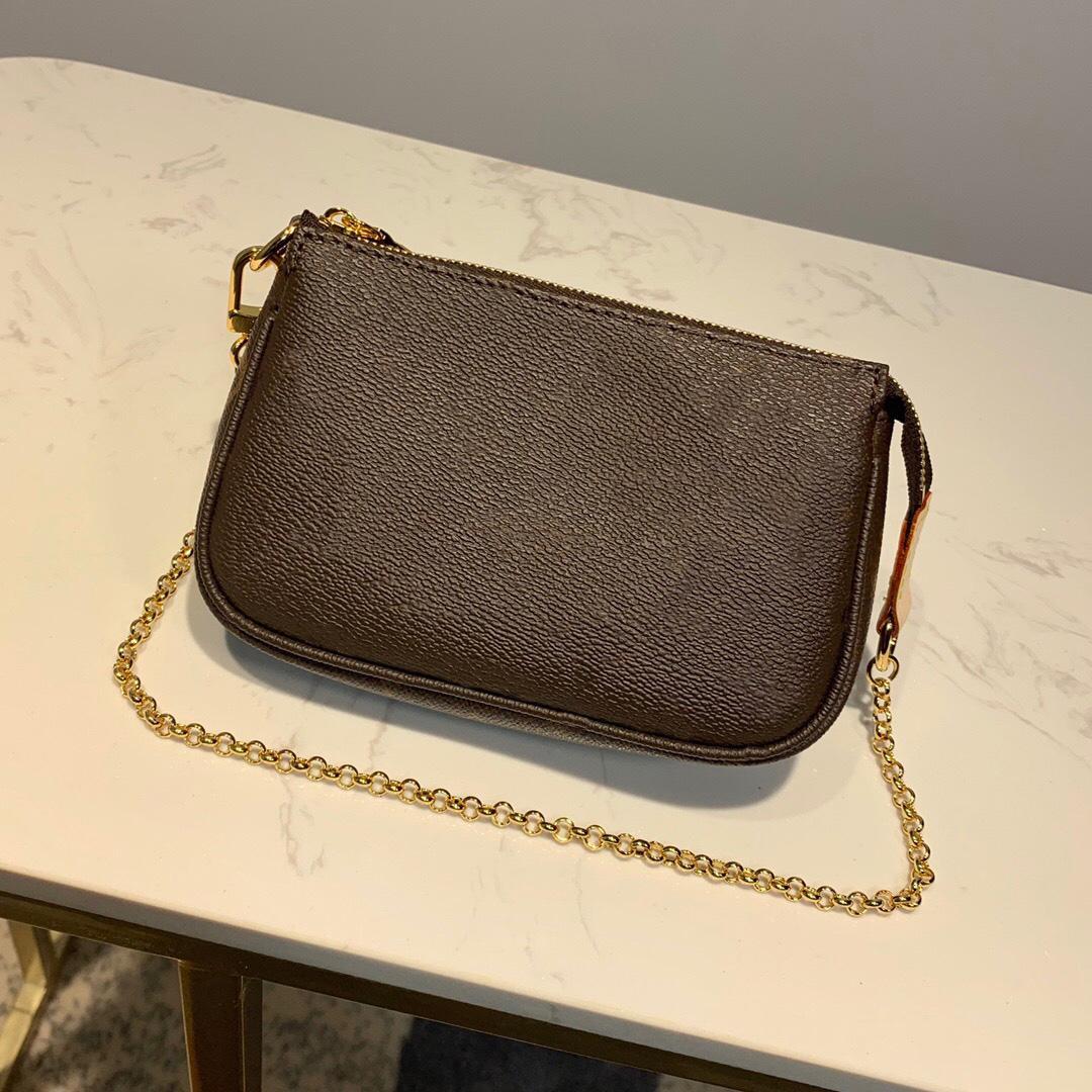 Mini Leather Brown/brown Luxurys Size Classic Genuine Chain Crossbody Grid Bags Box Wallet Bag Women Hot Bag Shoulder Hute With Wo Desi Artb