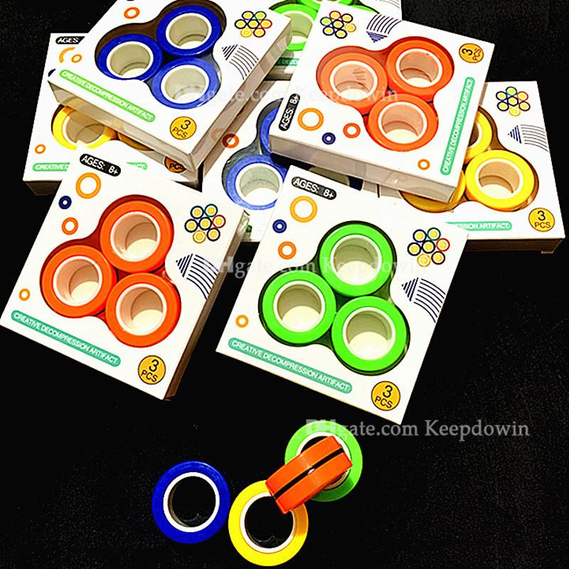 Magnetic Rings Fidget Toy, 3pcs/Set Magnetic Fidget Rings Ideal Adhd Toys for Anxiety Teens Cool Toy Rings for Adults Focus
