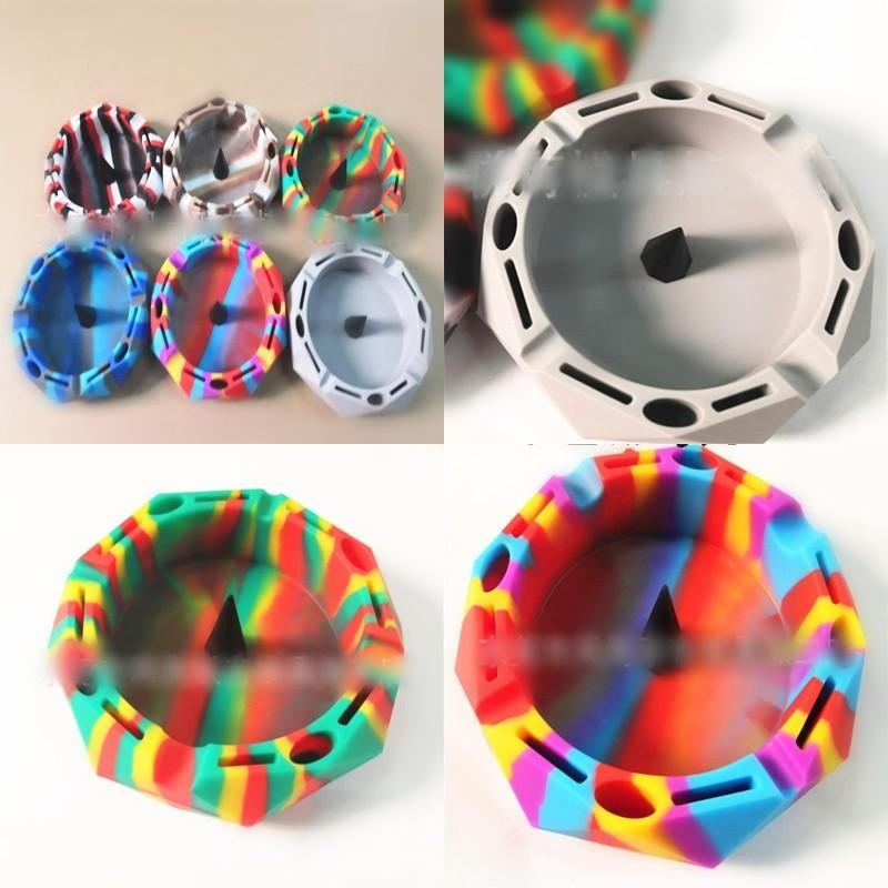 Silicone Rainbow Color Ashtray Polygon Black Cone Ashtraies Creative Blue White Styles Blend Ash Storage Tray 16 5fg G2