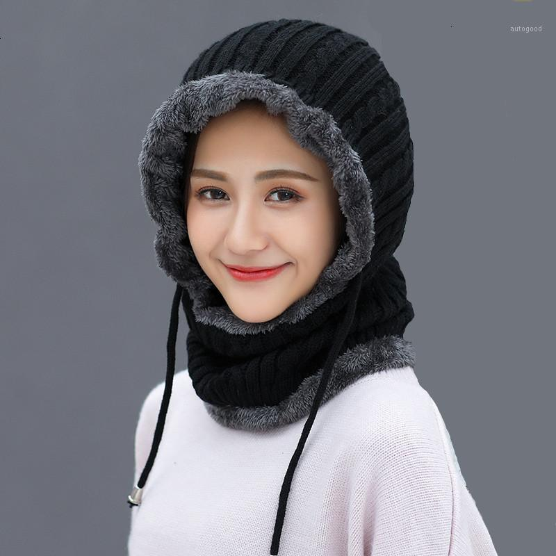 Simple Woman Skullies Beanies Riding Windproof Mask Ear Protect Balaclava Winter Hats For Women Thick Warm Knitted Cap1