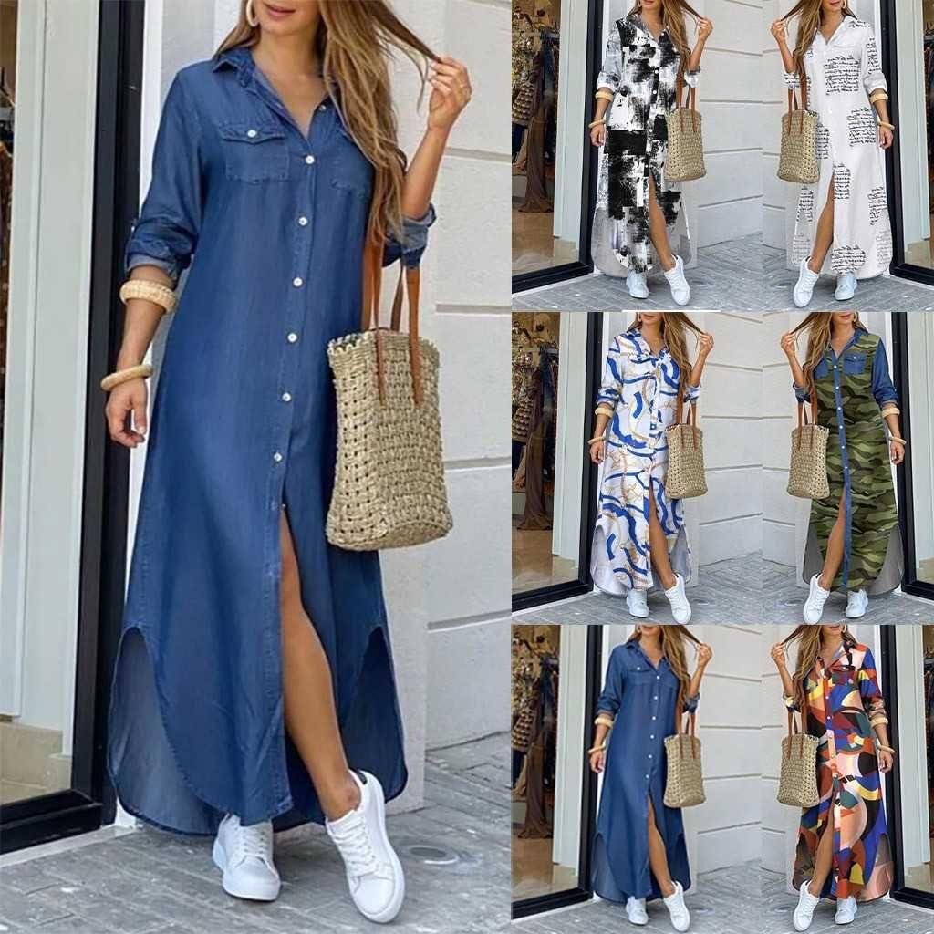 Mode Coréen Plus Taille Denim pour femme Été 2020 revers Split Sexy Long Maxi Jeans Vestidos de Mujer