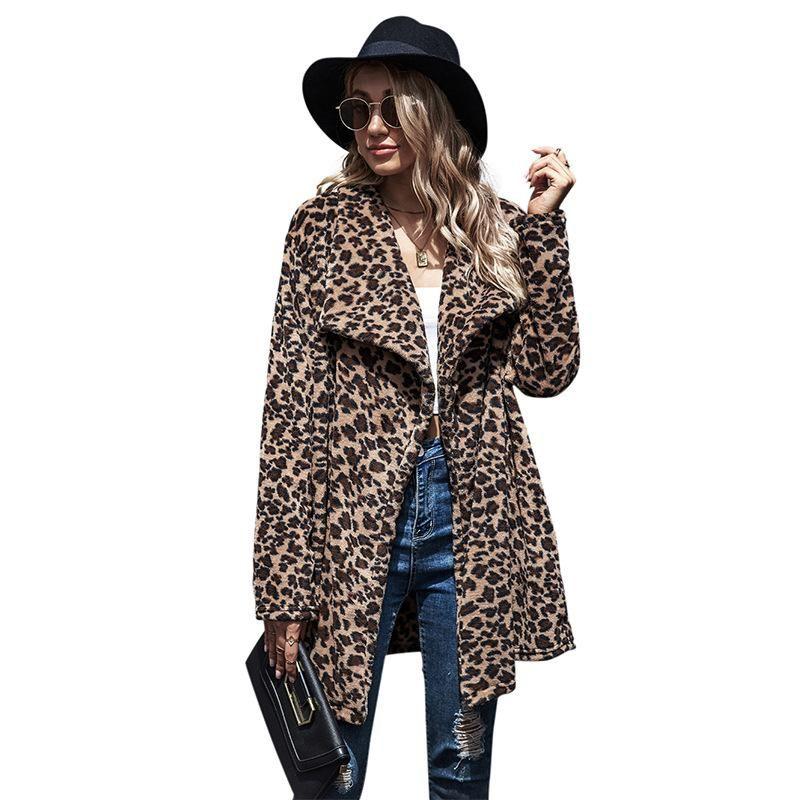 Mulheres Faux Faux 2021 Outono Casaco de Inverno Mulheres Moda Lapela Solta Woolen Jaqueta Temperamento Casual Leopardo Parka Feminino