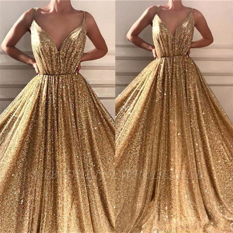Nueva Bling Bling reflectante de oro con lentejuelas una línea de partido vestidos de fiesta vestido de tirantes de espagueti vestidos de noche vestido formal ogstuff vestidos