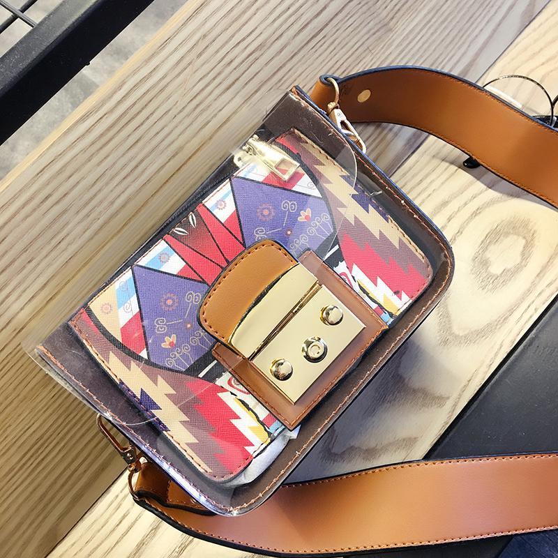 Новый прозрачный студень маленький квадрат пакет женщин мешок плеча Мода Printed Crossbody Сумка